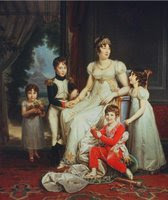 Caroline Bonaparte, wife of Marshal Joachim Murat, with their kids