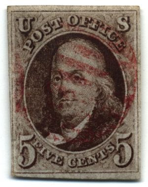 1847 United States postage stamp of Benjamin Franklin denominated 5 cents