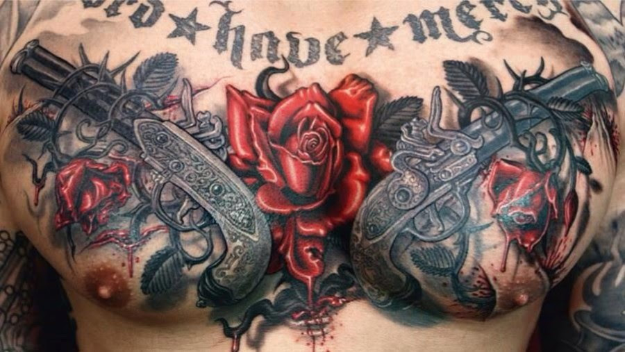 Body Art Tattoo Design Chest Tattoo Guns And Roses Tattoo