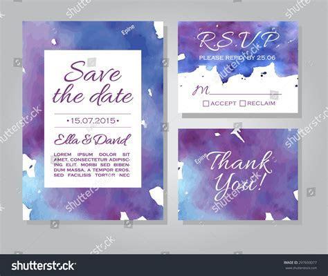 Vector Wedding Invitation Card Template Set Stock Vector