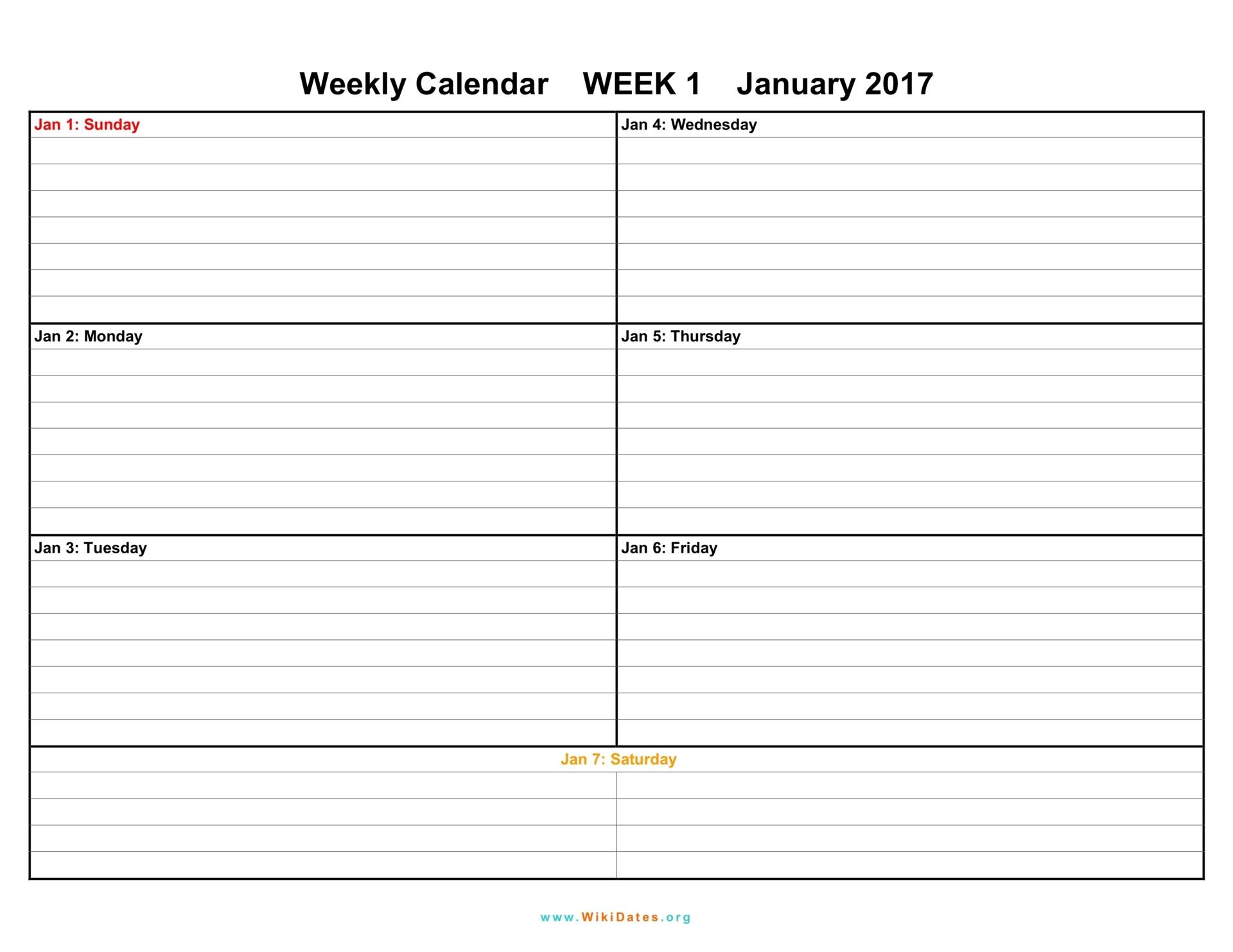 Weekly Calendar Template 2017 – 2017 calendar 2017