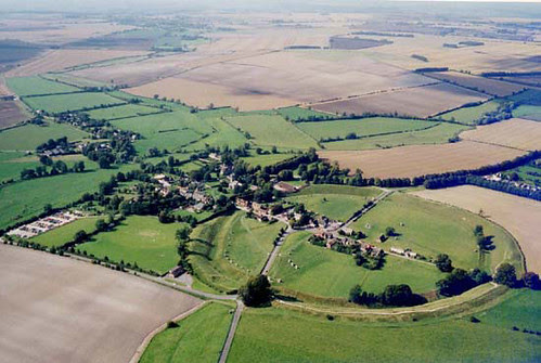 Avebury circle and village from the air.