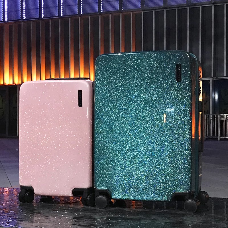 NEW 20''24'' Like the stars flowing Glittering Luggage Surface,PC Shell & Metal Drawbar Rolling Luggage Bag Trolley Case for Girls