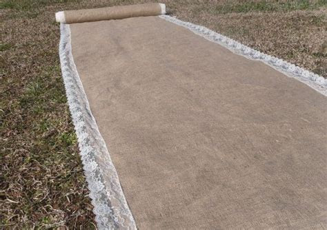 Custom Burlap Aisle Runner with Lace trim by