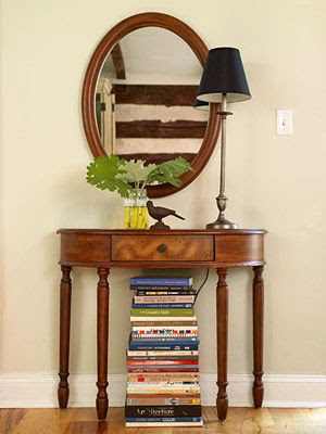 Decorating with books from the library. Spend Less ~ Share More. Library.