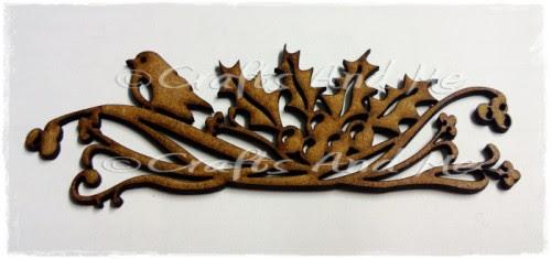 *New*Wooden Flourishes-Bird on Holly Swirl