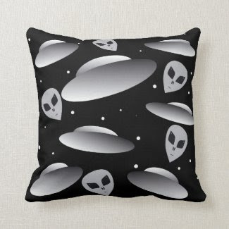 UFOs from Outer Space Throw Pillow