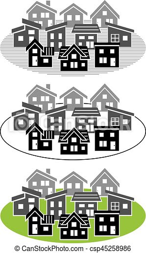 Simple Residential Area Silhouette
