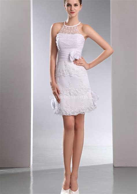 Buy Australia Short Halter Neckline Flower Lace Layered