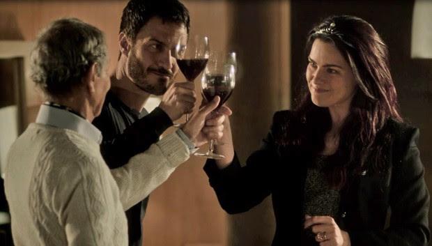 Nelson Xavier, Gabriel Braga Nunes e Ana Paula Arósio em cena do filme A Floresta que se move (Foto: Reprodução)