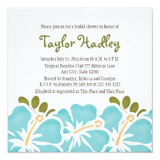 Blue Hibiscus Bridal Shower Invitations