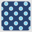 Bright Blue Polka Dots on Navy Envelope Seals Square Sticker