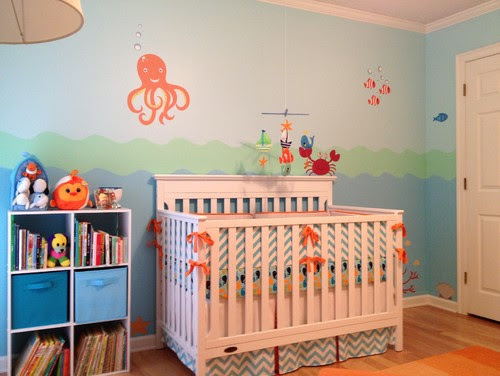 Chevron Print Is Also Used In The Bedding For This Ocean Life Baby Room Decorated By Traditional Kids