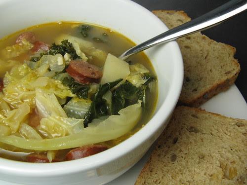 Chorizo, Potato & Greens Soup
