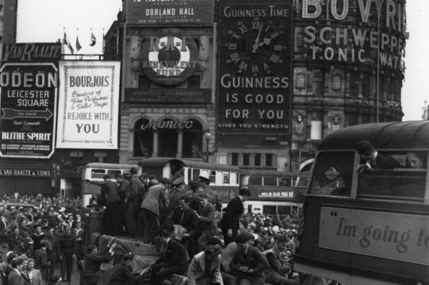 Piccadilly Circus during VE Day 8 May 1945