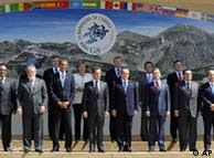 Líderes mundiais em Áquila. Itália