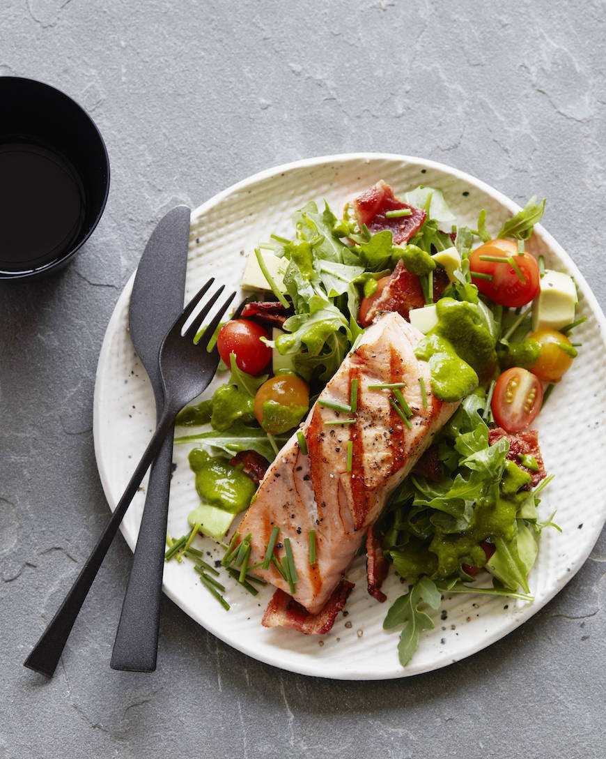 Salmon with salad and cilantro dressing