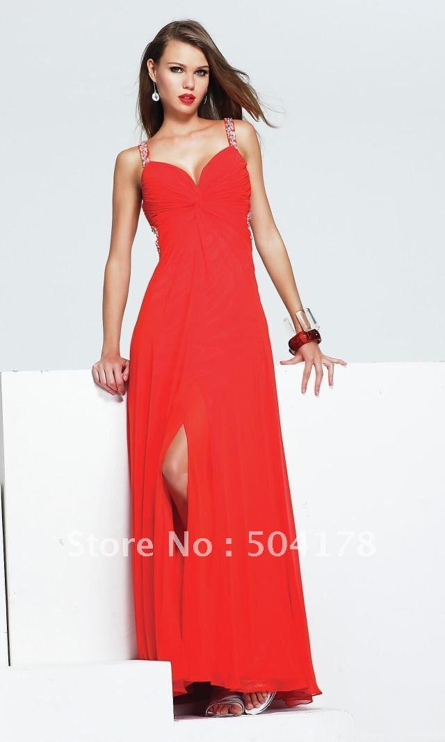 Long red silk evening dress