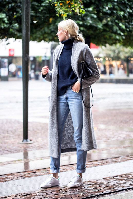 Le Fashion Blog Cool Casual Fall Style Long Wool Coat Navy Turtleneck Celine Crossbody Bag Boyfriend Jeans Adidas Stan Smith Sneakers Via Ellen Claesson