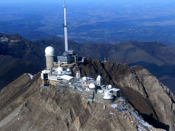 An aerial view of the Pic du Midi Observatory.