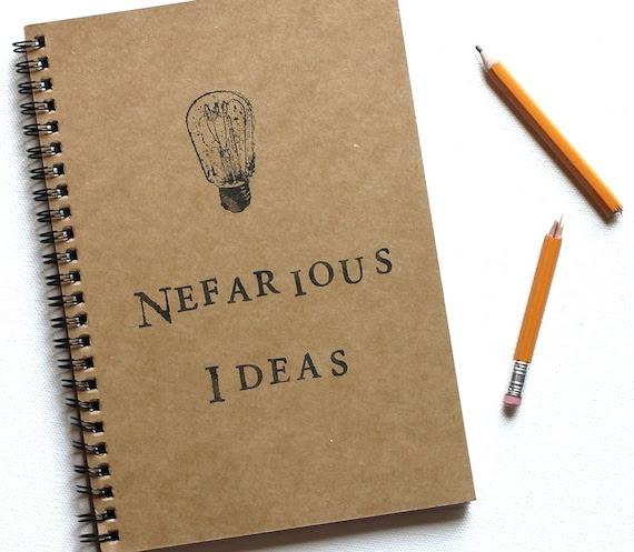 Nefarious Ideas hand stamped notebook spiral journal