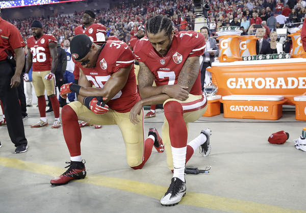 Image result for Colin Kaepernick Rams kneel down