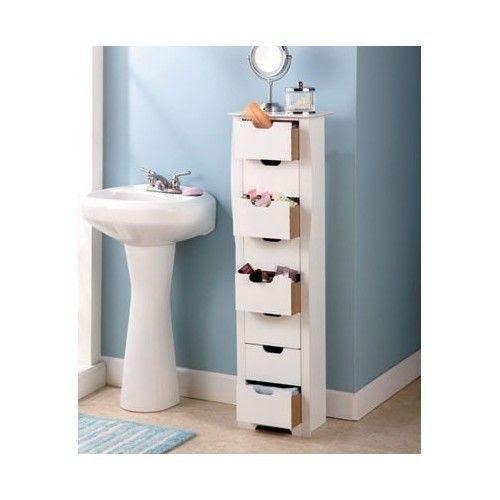 Wood Slim Bathroom Storage Cupboard, Thin Bathroom Cabinet