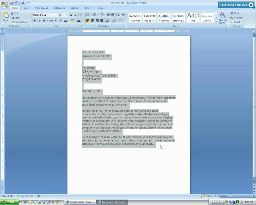 Microsoft Word 2007 Business Letter Tutorial.mp4 - YouTube