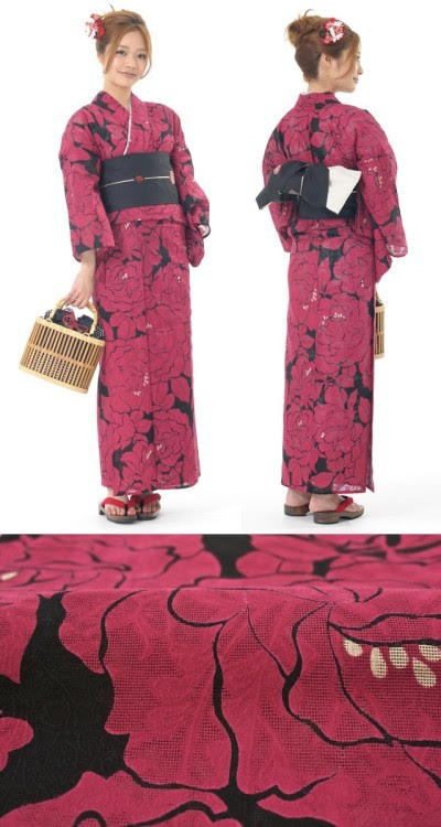 """This """"premium"""" yukata has a hidden surprise in the fabric. The texture of the weave itself has a flower pattern under the botan print. This shows up as a slightly shiny texture in the fabric but has the functional benefit of making the textile breathable and airy. The slightest summer breeze will pass through this light cotton, making you cooler than if you wore a t-shirt. Burgundy and black is a basic and traditional color combination, so adding any other additional colors would work fine with this too. 33,000 yen on Yahoo auctions."""