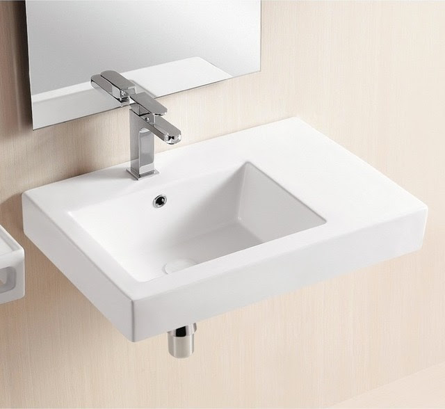 Wall Mounted Ceramic Sink With Counter Space - Modern - Bathroom ...