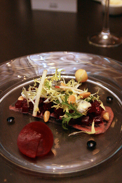 Tasting of Beetroot with Braeburn Apple, Aged Balsamic Dressing, St Maure Goat's Cheese, Toasted Pine Kernels