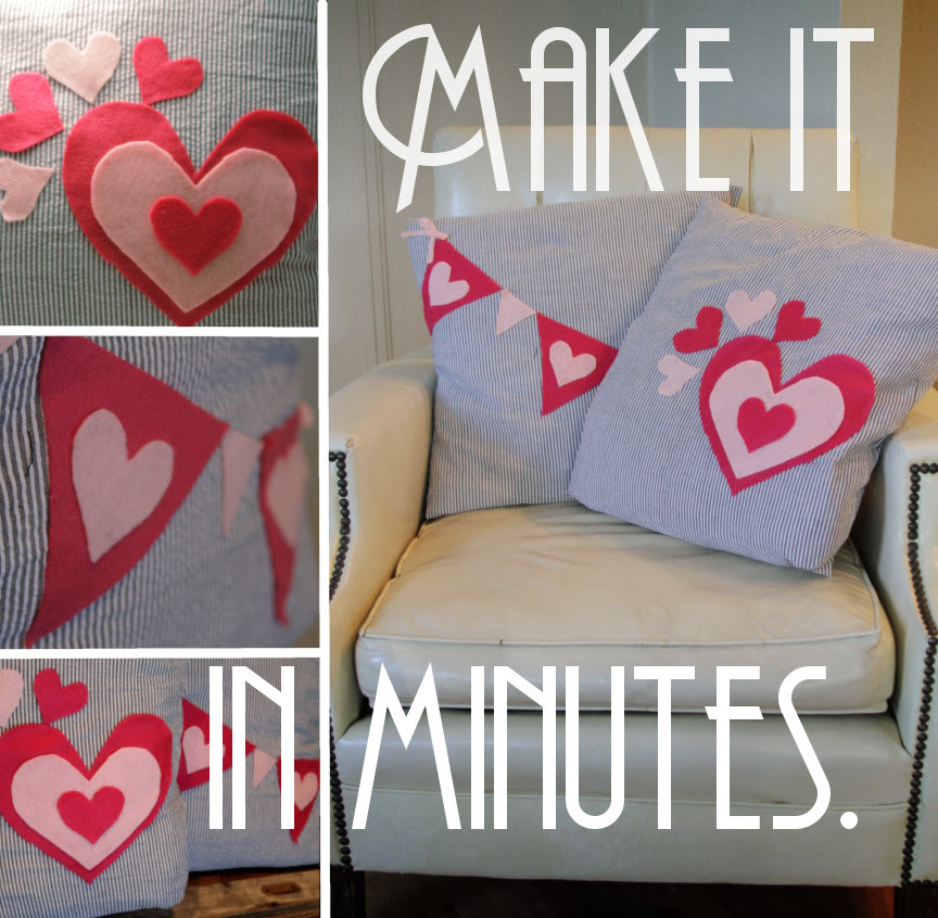 No-Sew Valentine's Day Pillows | amy allender {dot} com