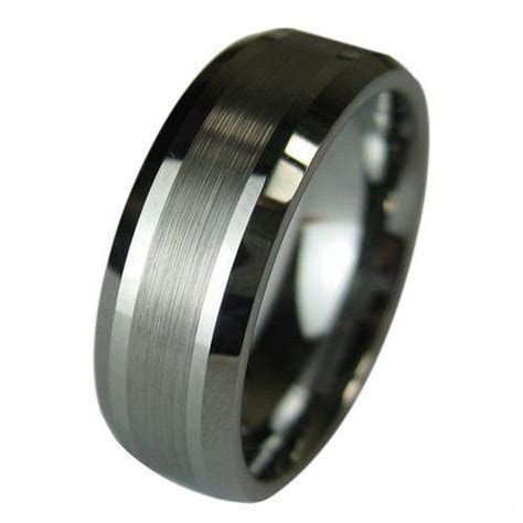 Tungsten Carbide Wedding Band Mens Ring Titanium Color
