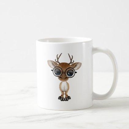 Nerdy Baby Deer Wearing Glasses Coffee Mug