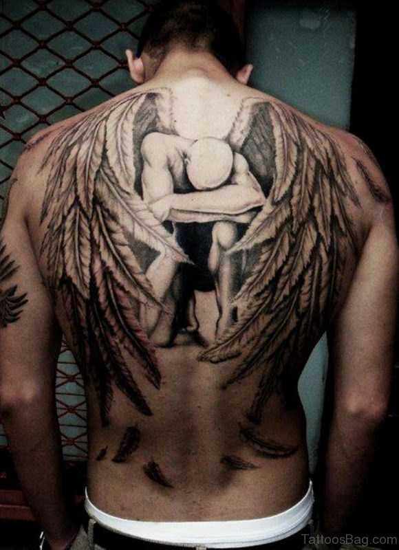 98 Best Cross With Wings Tattoos For Back