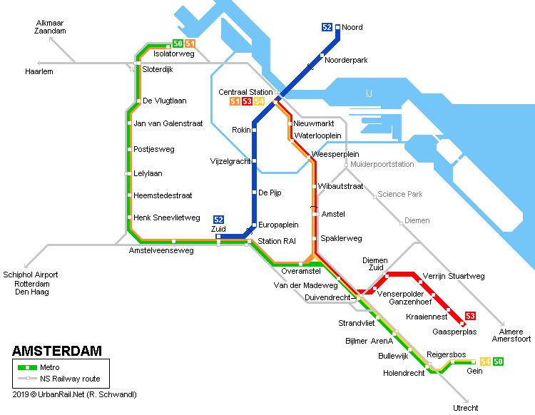 Amsterdam Subway Map | World Map Gray