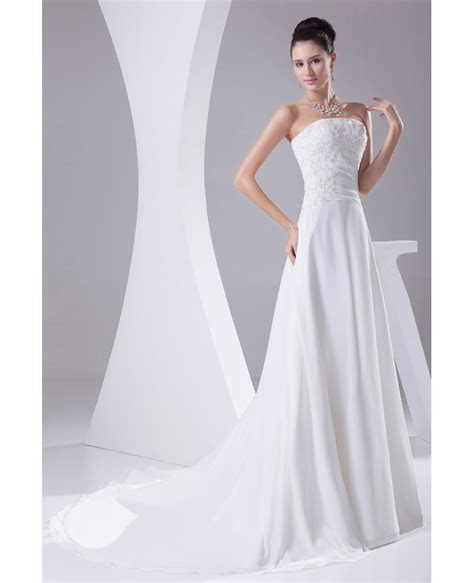 A line Long Chiffon Beaded Lace Wedding Dress with Train #