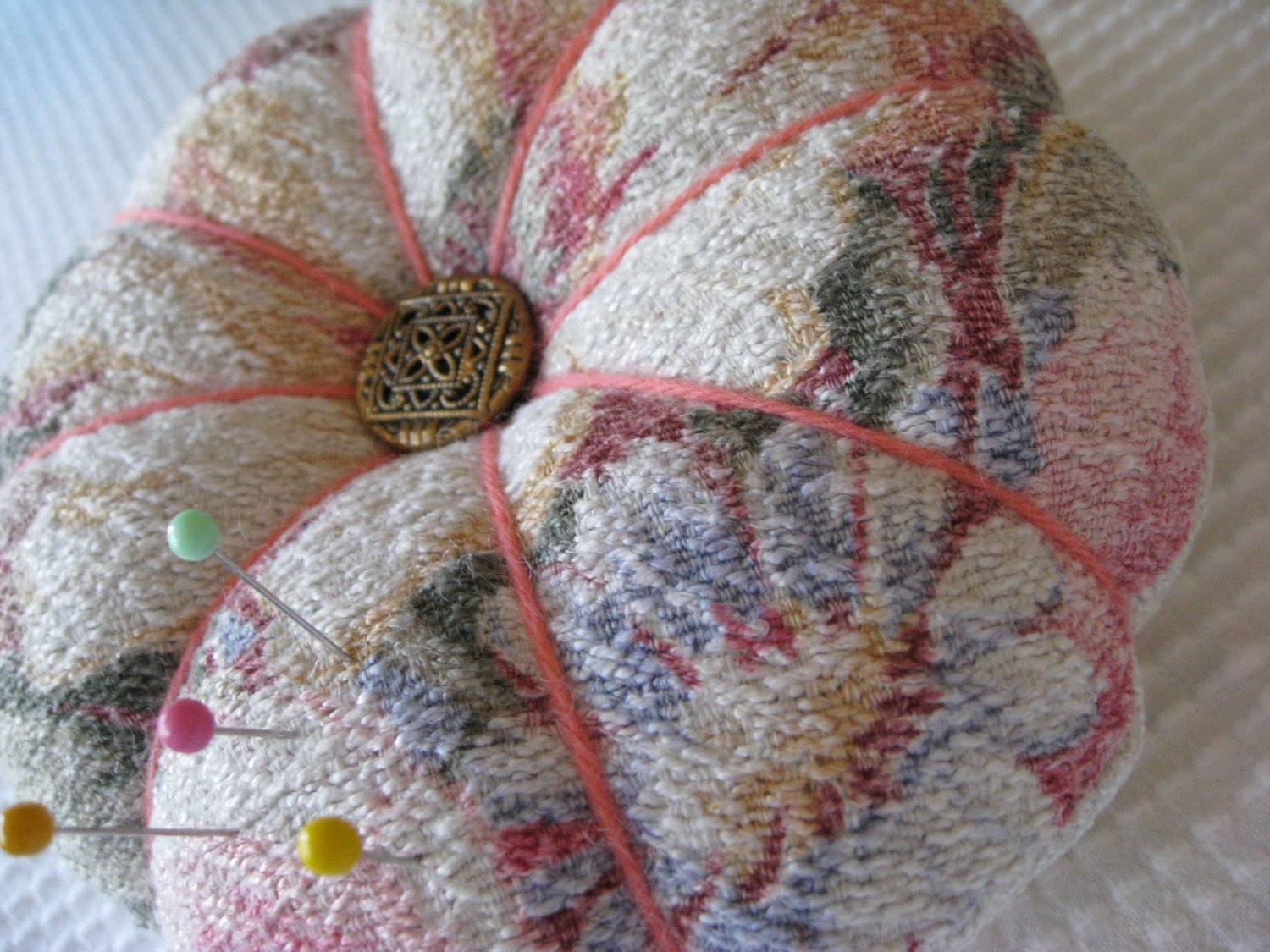 Handcrafted Pincushion or Brooch Cushion - Vintage Barkcloth - Glencourt Pattern - Shabby Chic