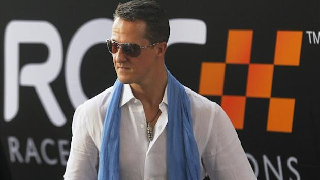 Driver Michael Schumacher from Team Germany arrives at the Rajamangala National Stadium before a practice for the Race of Champions (ROC) in Bangkok December 16, 2012. (Reuters)