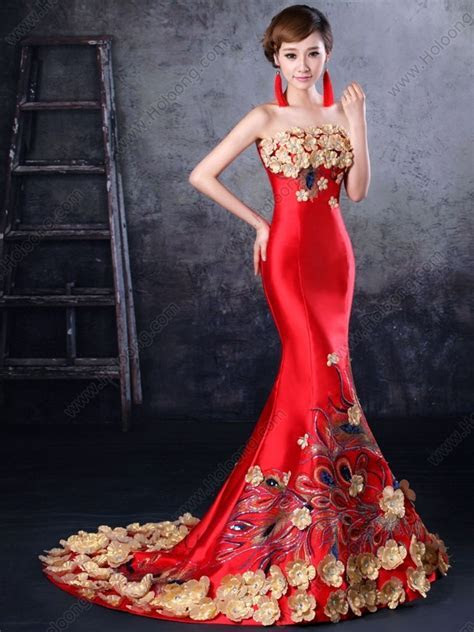 Party Toast formal dress Strapless Evening Chinese Red