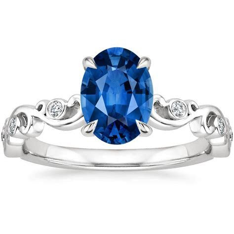 Sapphire Petite Ivy Scroll Diamond Ring in Platinum