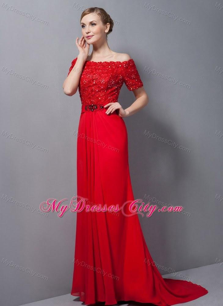 Off shoulder red evening dress