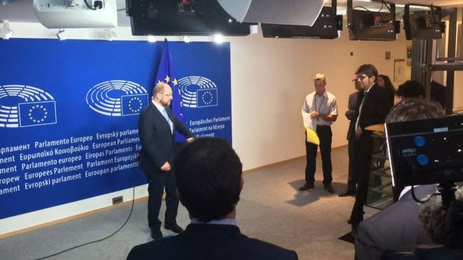 European Parliament President Martin Schulz speaks to reporters on 24 June