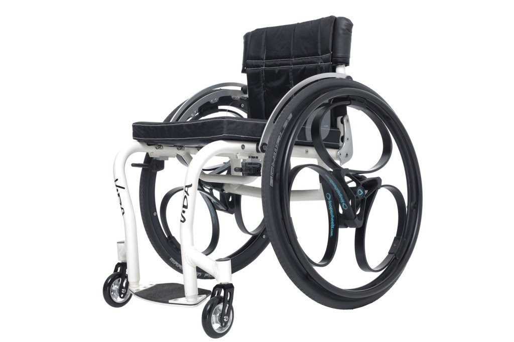 A wheelchair with loopwheels on