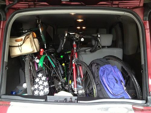 Three bikes, three people in the Element