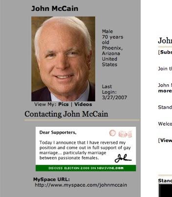 McCain Myspace Prank