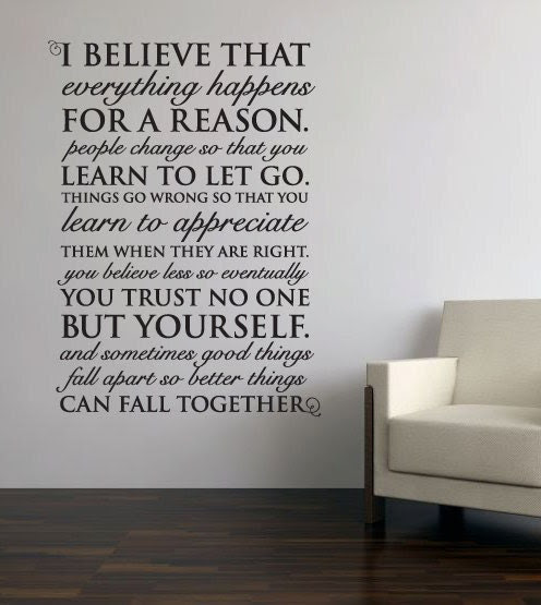 Wall Vinyl Quote Everything Happens for a Reason by aubreyheath