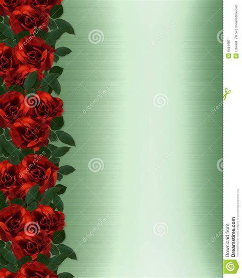 Red Roses Border Wedding Invitation Stock Illustration