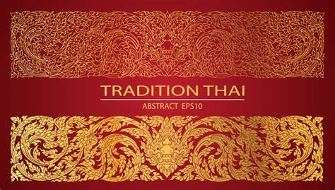 Abstract line thai tradition pattern vector   Vector