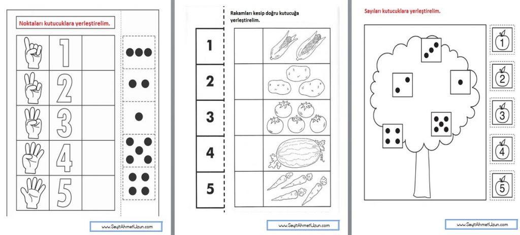 1 Sınıf Matematik Rakamları Kes Yapıştır Etkinliği 2 Okul